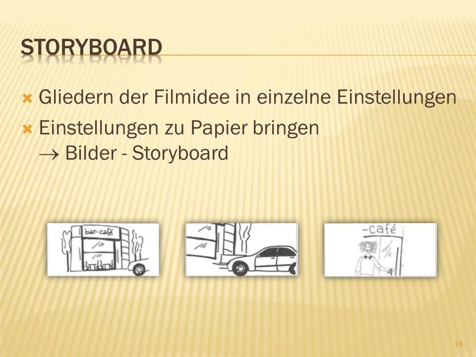Gliedern der Filmidee in einzelne Einstellungen Einstellungen zu Papier bringen Bilder - Storyboard 18