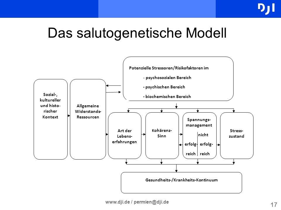 17 www.dji.de / permien@dji.de Das salutogenetische Modell Sozial- kultureller und histo - rischer Kontext Allgemeine Widerstands- Ressourcen Art der