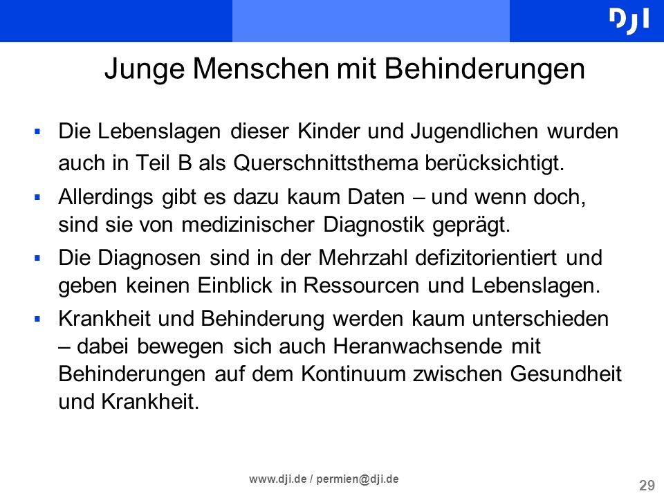 29 www.dji.de / permien@dji.de Die Lebenslagen dieser Kinder und Jugendlichen wurden auch in Teil B als Querschnittsthema berücksichtigt. Allerdings g