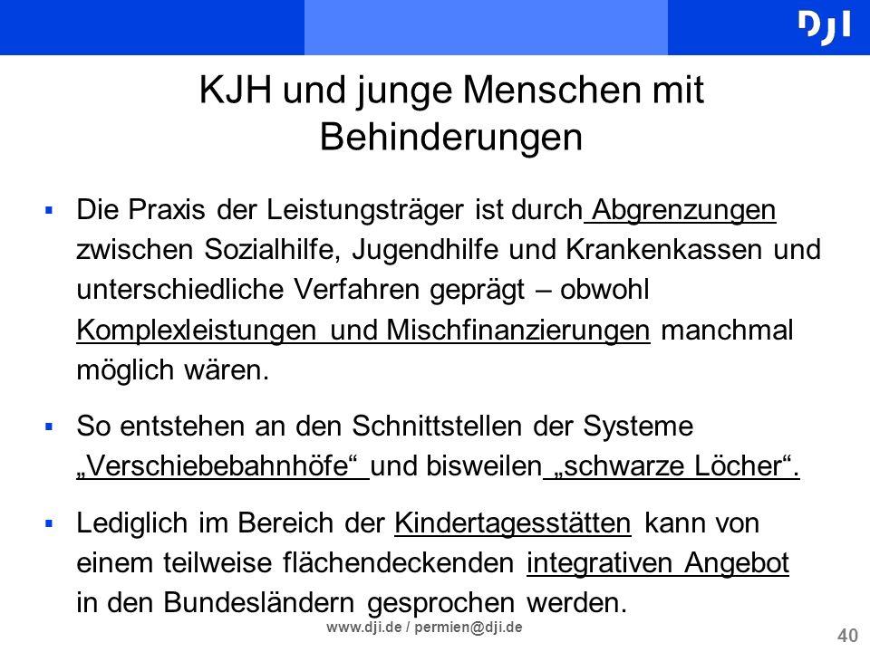 40 www.dji.de / permien@dji.de Die Praxis der Leistungsträger ist durch Abgrenzungen zwischen Sozialhilfe, Jugendhilfe und Krankenkassen und unterschi