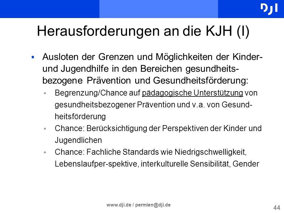 44 www.dji.de / permien@dji.de Herausforderungen an die KJH (I) Ausloten der Grenzen und Möglichkeiten der Kinder- und Jugendhilfe in den Bereichen ge