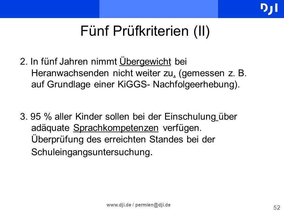 52 www.dji.de / permien@dji.de Fünf Prüfkriterien (II) 2. In fünf Jahren nimmt Übergewicht bei Heranwachsenden nicht weiter zu, (gemessen z. B. auf Gr