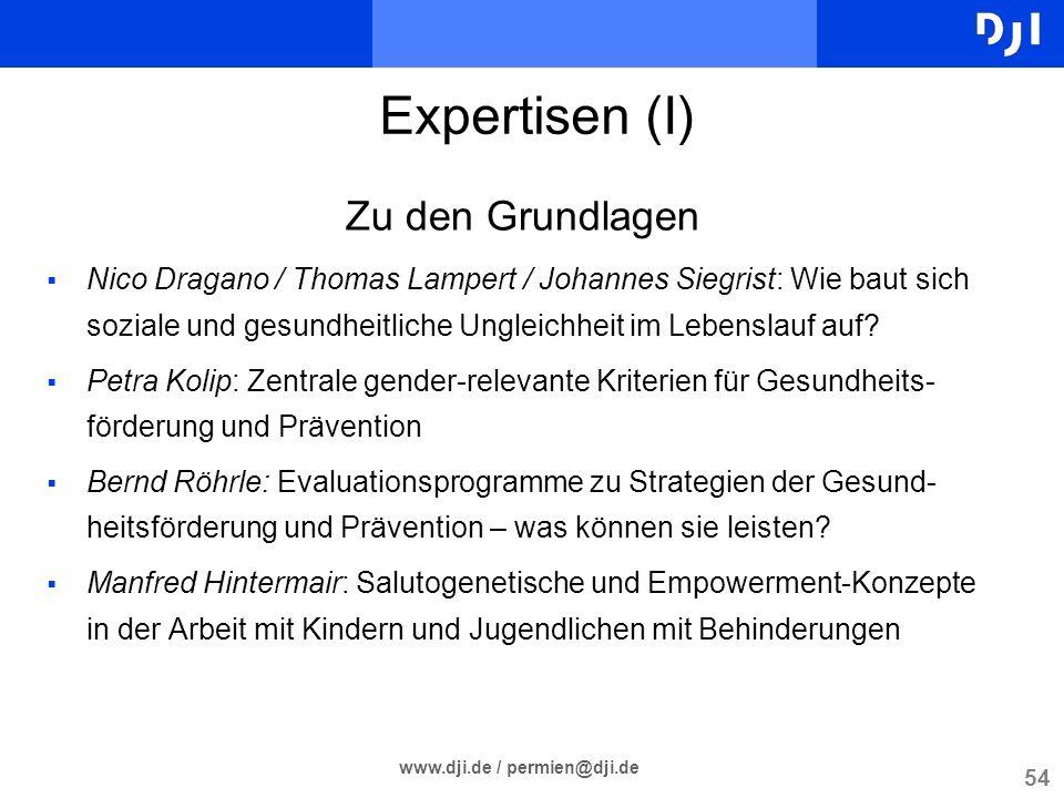 54 www.dji.de / permien@dji.de Zu den Grundlagen Nico Dragano / Thomas Lampert / Johannes Siegrist: Wie baut sich soziale und gesundheitliche Ungleich