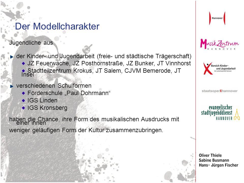 Der Modellcharakter Jugendliche aus der Kinder- und Jugendarbeit (freie- und städtische Trägerschaft) JZ Feuerwache, JZ Posthornstraße, JZ Bunker, JT
