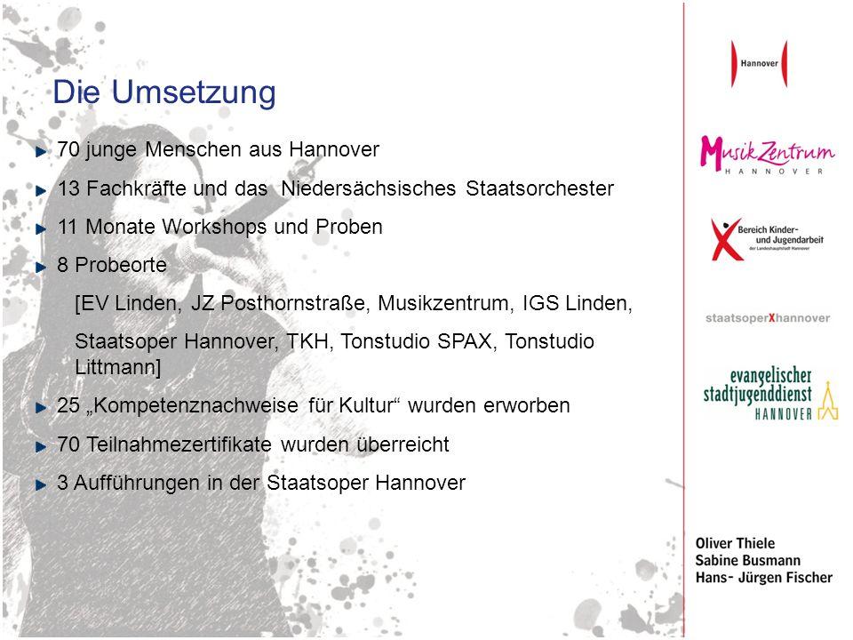 Die Umsetzung 70 junge Menschen aus Hannover 13 Fachkräfte und das Niedersächsisches Staatsorchester 11 Monate Workshops und Proben 8 Probeorte [EV Li
