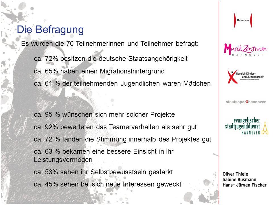 Die Befragung Es wurden die 70 Teilnehmerinnen und Teilnehmer befragt: ca. 72% besitzen die deutsche Staatsangehörigkeit ca. 65% haben einen Migration