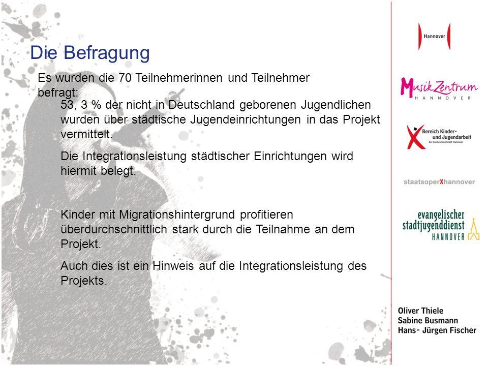 Die Befragung Es wurden die 70 Teilnehmerinnen und Teilnehmer befragt: 53, 3 % der nicht in Deutschland geborenen Jugendlichen wurden über städtische Jugendeinrichtungen in das Projekt vermittelt.