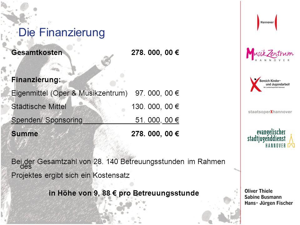 Die Finanzierung Gesamtkosten 278. 000, 00 Finanzierung: Eigenmittel (Oper & Musikzentrum) 97. 000, 00 Städtische Mittel 130. 000, 00 Spenden/ Sponsor
