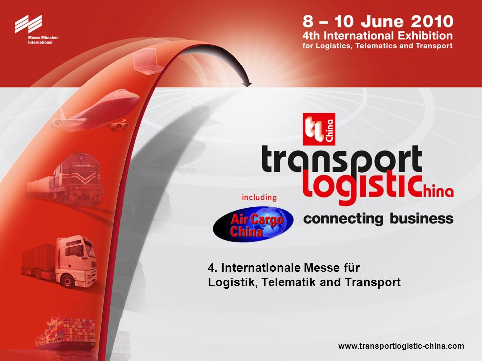 transport logistic China 2010 connecting business Termin: 8 – 10 June 2010 Turnus: Alle zwei Jahre Ort: Shanghai New International Expo Centre (SNIEC) Shanghai (Pudong)/China Facts & Figures