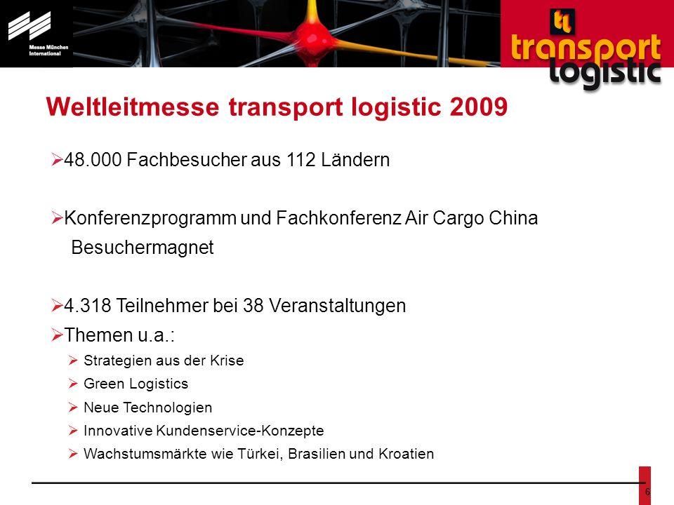 Nr. 6 Weltleitmesse transport logistic 2009 48.000 Fachbesucher aus 112 Ländern Konferenzprogramm und Fachkonferenz Air Cargo China Besuchermagnet 4.3