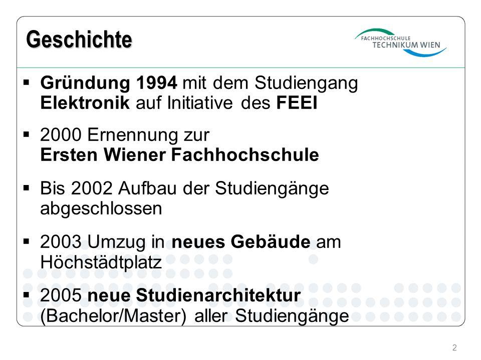 2 Geschichte Gründung 1994 mit dem Studiengang Elektronik auf Initiative des FEEI 2000 Ernennung zur Ersten Wiener Fachhochschule Bis 2002 Aufbau der