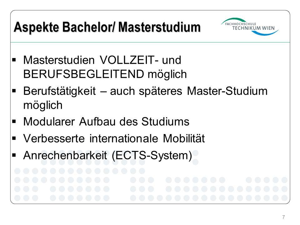 7 Masterstudien VOLLZEIT- und BERUFSBEGLEITEND möglich Berufstätigkeit – auch späteres Master-Studium möglich Modularer Aufbau des Studiums Verbesserte internationale Mobilität Anrechenbarkeit (ECTS-System) Aspekte Bachelor/ Masterstudium