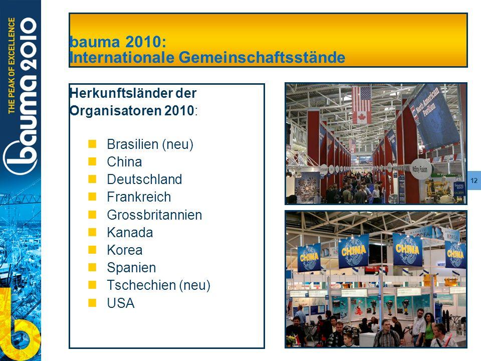 12 bauma 2010: Internationale Gemeinschaftsstände Herkunftsländer der Organisatoren 2010: Brasilien (neu) China Deutschland Frankreich Grossbritannien