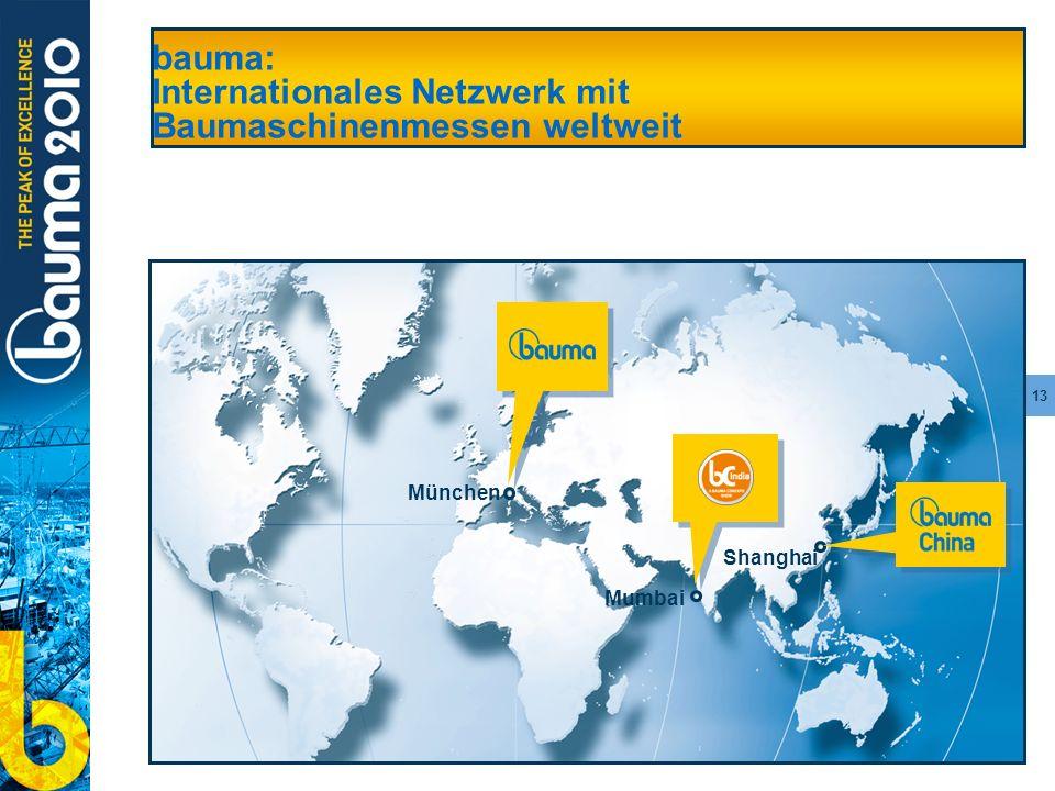 13 bauma: Internationales Netzwerk mit Baumaschinenmessen weltweit Shanghai München Mumbai