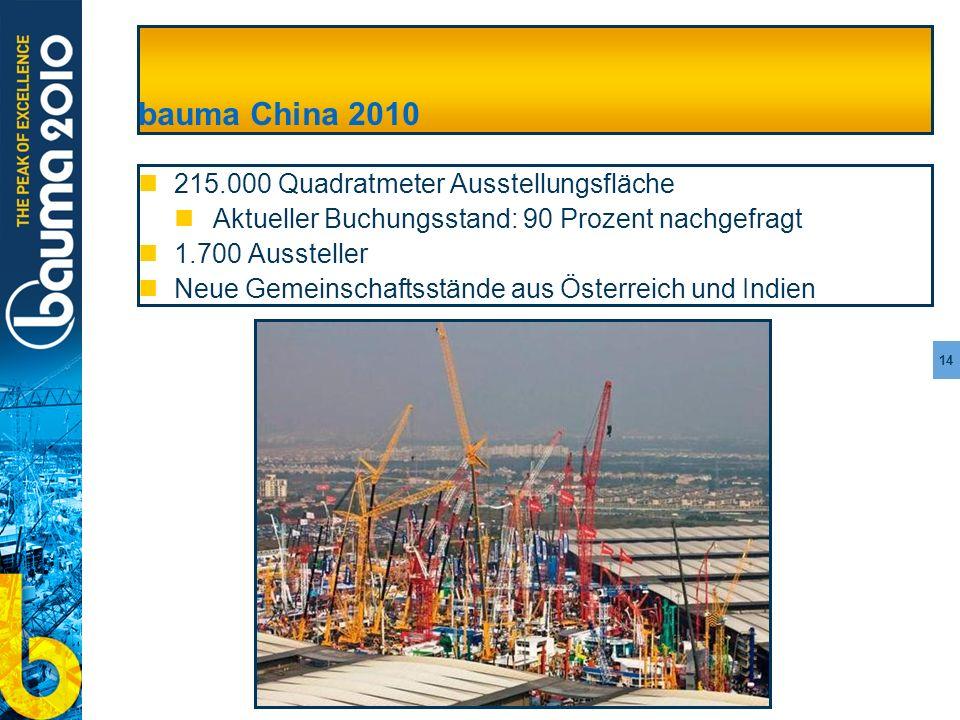 14 bauma China 2010 215.000 Quadratmeter Ausstellungsfläche Aktueller Buchungsstand: 90 Prozent nachgefragt 1.700 Aussteller Neue Gemeinschaftsstände