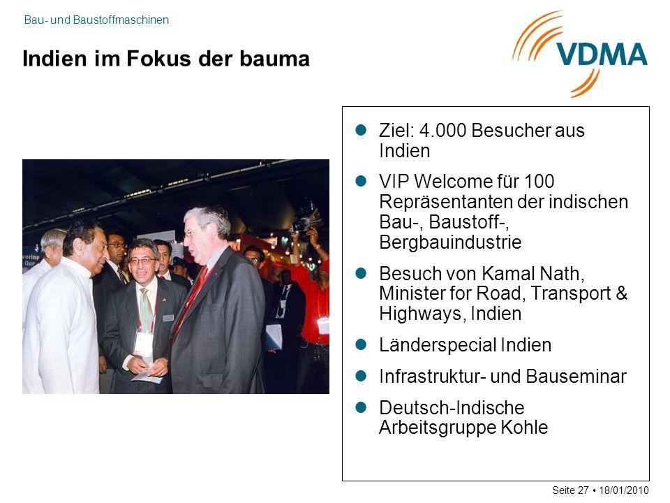 Bau- und Baustoffmaschinen Seite 27 18/01/2010 Indien im Fokus der bauma Ziel: 4.000 Besucher aus Indien VIP Welcome für 100 Repräsentanten der indisc
