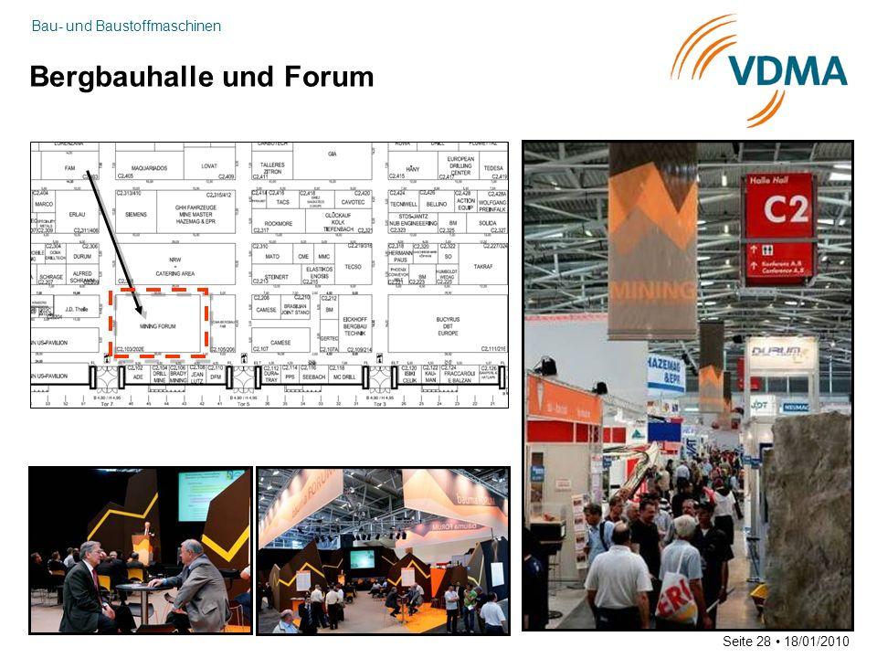 Bau- und Baustoffmaschinen Seite 28 18/01/2010 Bergbauhalle und Forum