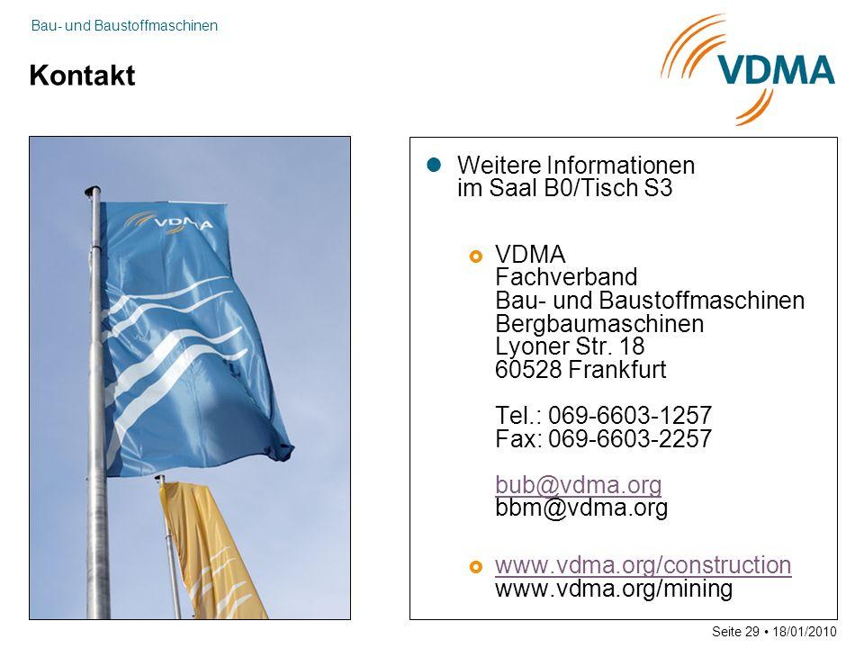 Bau- und Baustoffmaschinen Seite 29 18/01/2010 Kontakt Weitere Informationen im Saal B0/Tisch S3 VDMA Fachverband Bau- und Baustoffmaschinen Bergbaumaschinen Lyoner Str.