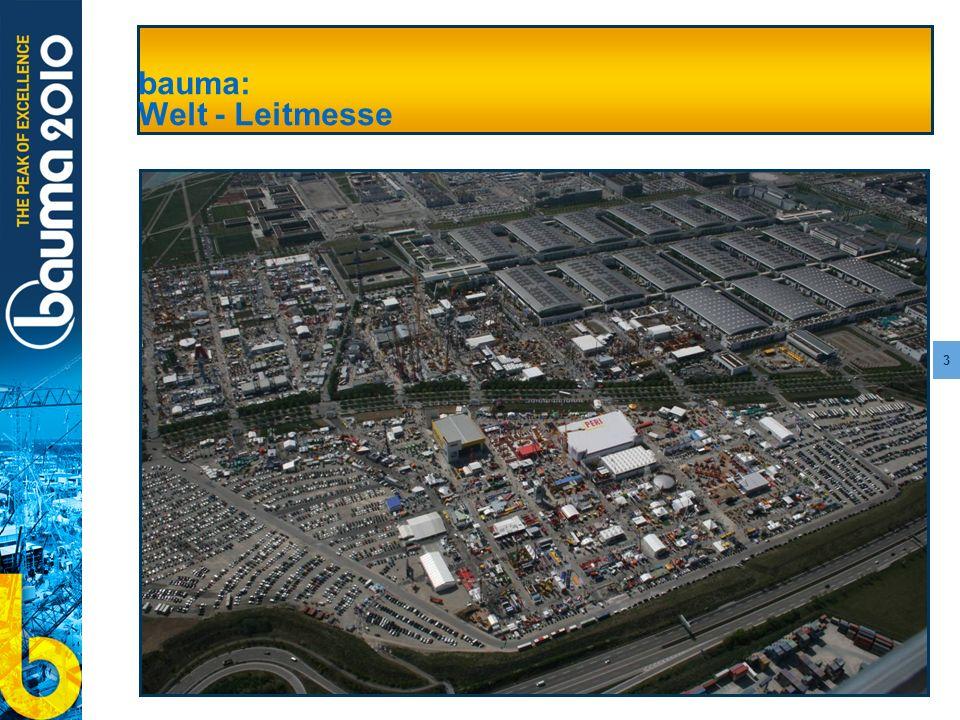 4 bauma 2010: Aktueller Planungsstand 555.000 Quadratmeter Fläche Mehr als 3.000 Aussteller Mehr internationale Aussteller