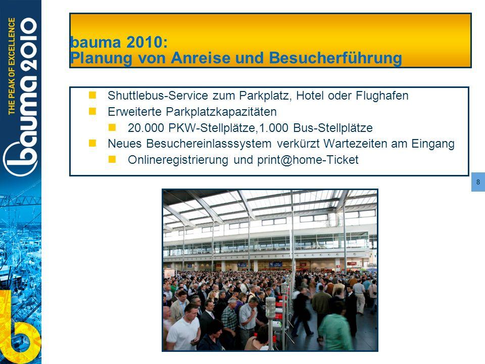8 bauma 2010: Planung von Anreise und Besucherführung Shuttlebus-Service zum Parkplatz, Hotel oder Flughafen Erweiterte Parkplatzkapazitäten 20.000 PK