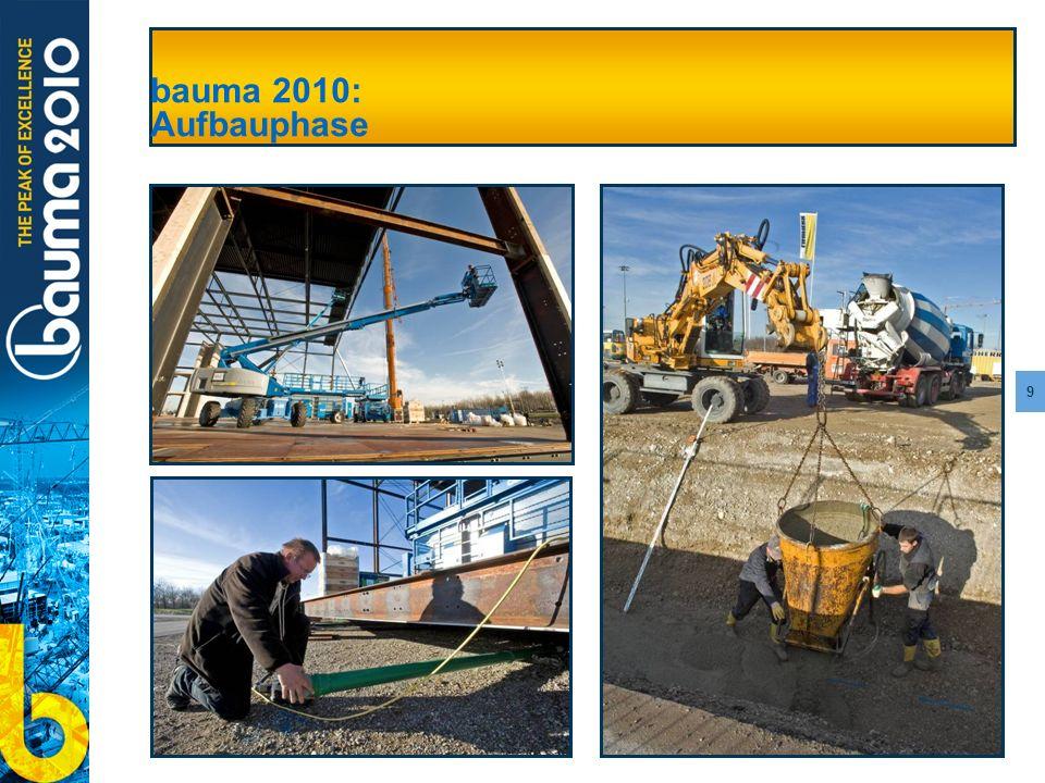 9 bauma 2010: Aufbauphase
