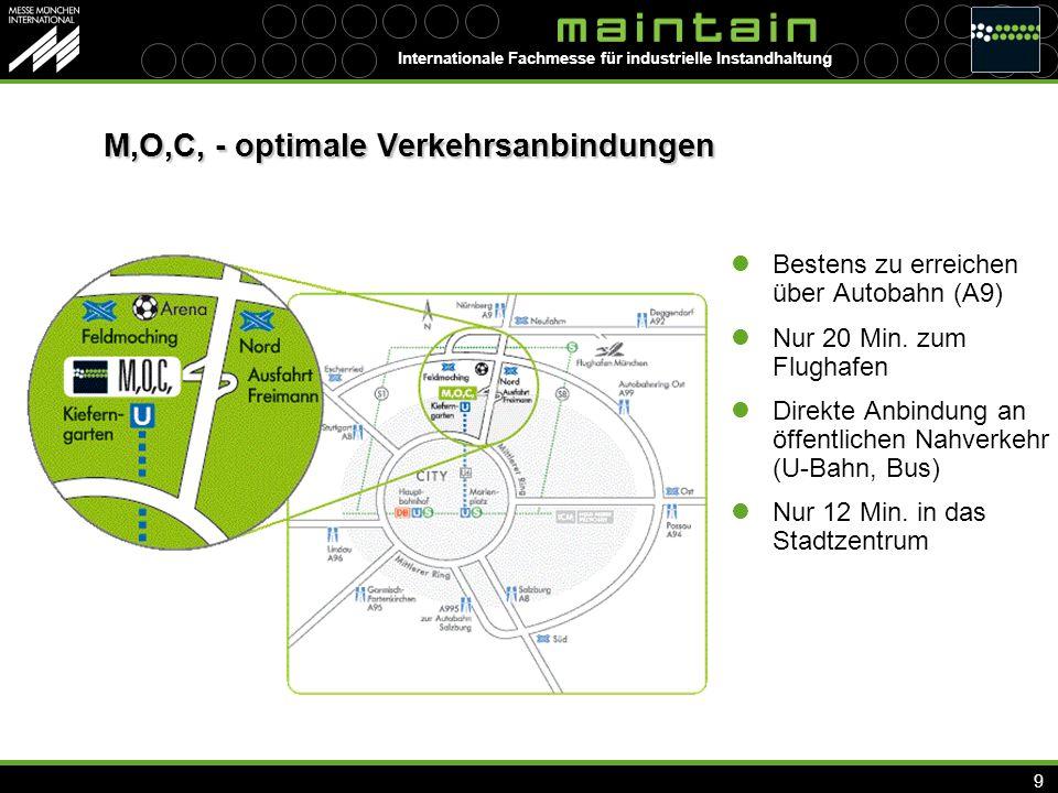 Internationale Fachmesse für industrielle Instandhaltung 9 M,O,C, - optimale Verkehrsanbindungen Bestens zu erreichen über Autobahn (A9) Nur 20 Min.