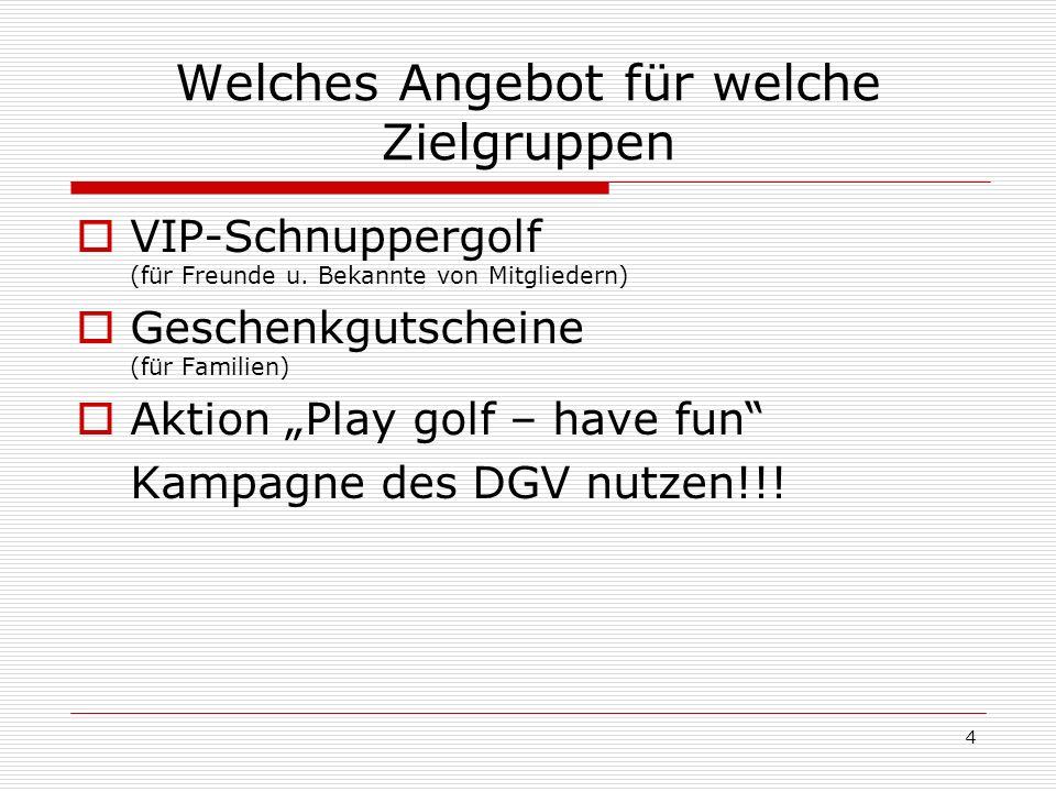 4 Welches Angebot für welche Zielgruppen VIP-Schnuppergolf (für Freunde u.
