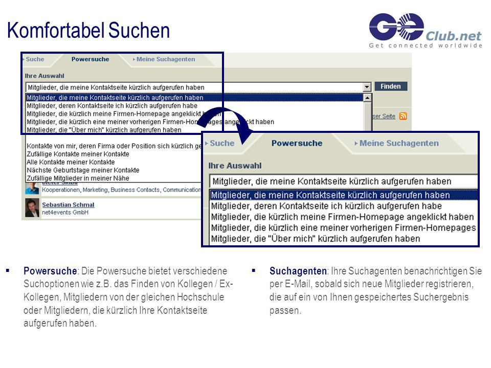 Komfortabel Suchen Suchagenten : Ihre Suchagenten benachrichtigen Sie per E-Mail, sobald sich neue Mitglieder registrieren, die auf ein von Ihnen gespeichertes Suchergebnis passen.