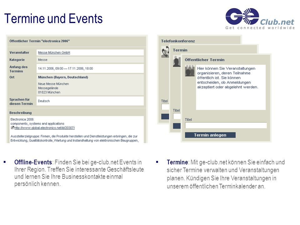 Termine und Events Offline-Events : Finden Sie bei ge-club.net Events in Ihrer Region.
