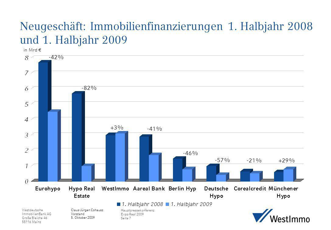 Westdeutsche ImmobilienBank AG Große Bleiche 46 55116 Mainz Claus-Jürgen Cohausz Vorstand 5. Oktober 2009 Hauptpressekonferenz Expo Real 2009 Seite 7