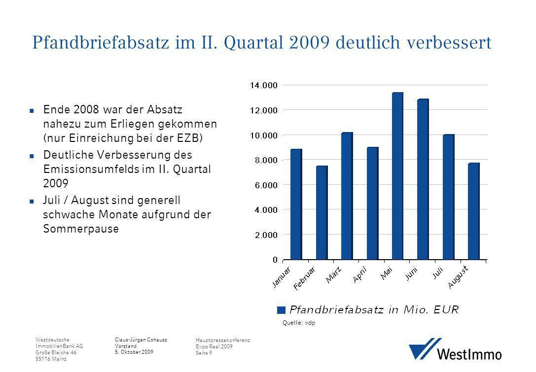 Westdeutsche ImmobilienBank AG Große Bleiche 46 55116 Mainz Claus-Jürgen Cohausz Vorstand 5. Oktober 2009 Hauptpressekonferenz Expo Real 2009 Seite 9