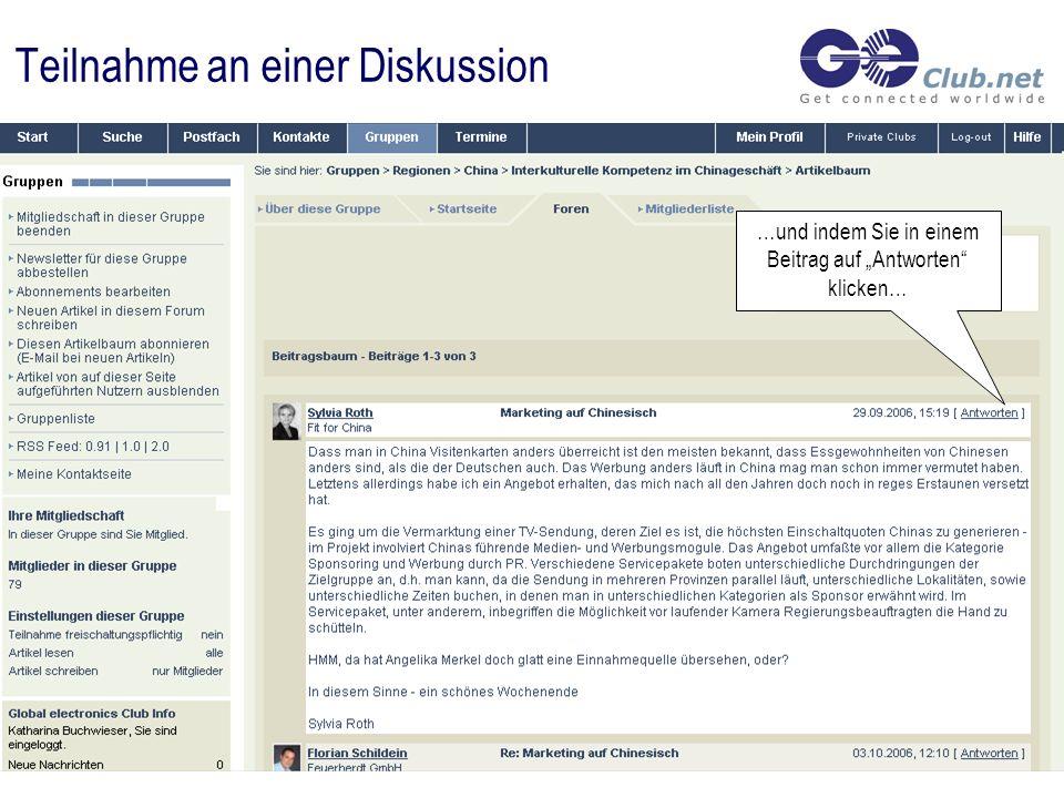 Teilnahme an einer Diskussion …und indem Sie in einem Beitrag auf Antworten klicken…