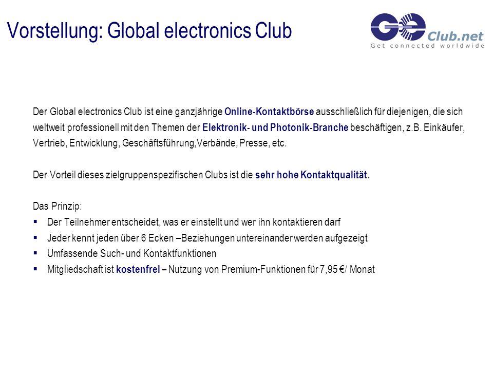 Vorstellung: Global electronics Club Der Global electronics Club ist eine ganzjährige Online-Kontaktbörse ausschließlich für diejenigen, die sich weltweit professionell mit den Themen der Elektronik- und Photonik-Branche beschäftigen, z.B.