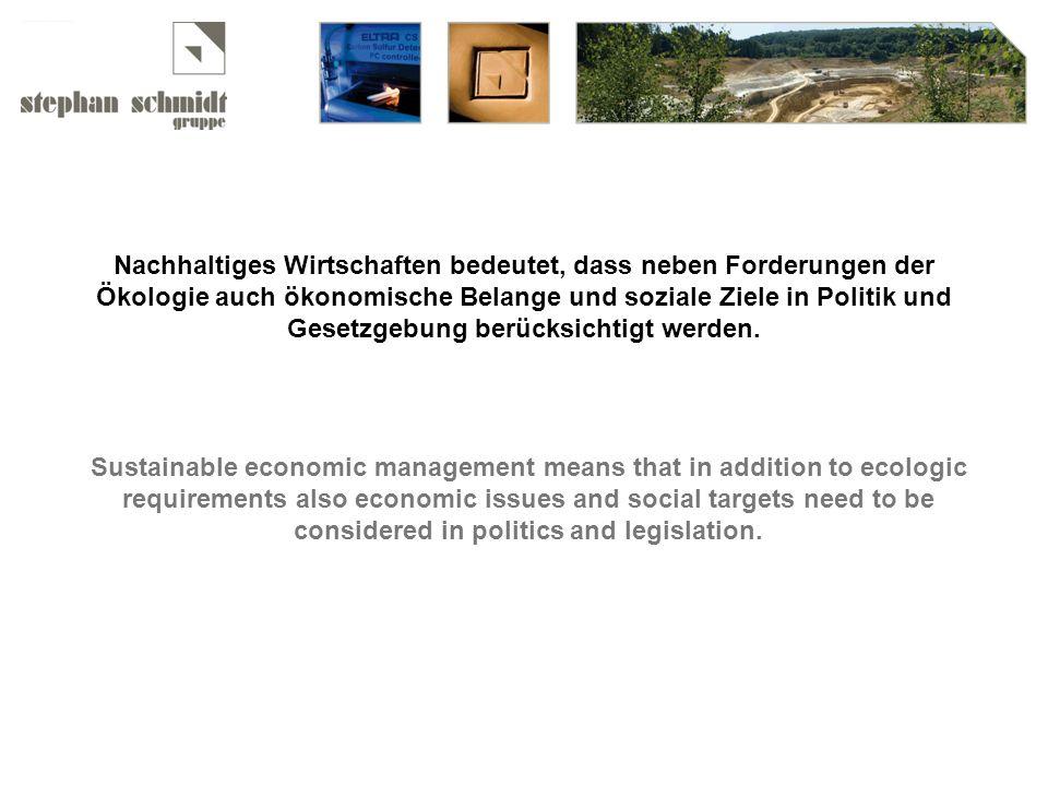 Nachhaltiges Wirtschaften bedeutet, dass neben Forderungen der Ökologie auch ökonomische Belange und soziale Ziele in Politik und Gesetzgebung berücksichtigt werden.