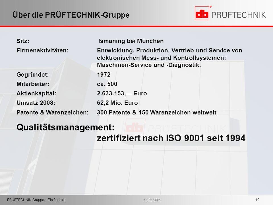 15.06.2009 PRÜFTECHNIK-Gruppe – Ein Portrait 10 Über die PRÜFTECHNIK-Gruppe Sitz: Ismaning bei München Firmenaktivitäten:Entwicklung, Produktion, Vert
