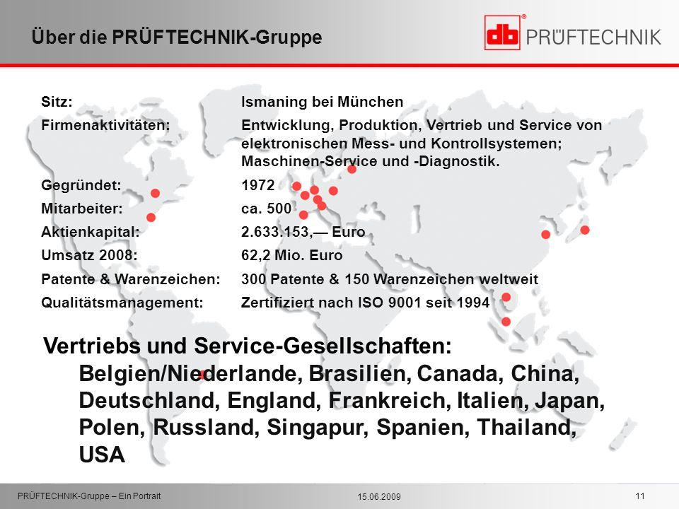 15.06.2009 PRÜFTECHNIK-Gruppe – Ein Portrait 11 Über die PRÜFTECHNIK-Gruppe Sitz: Ismaning bei München Firmenaktivitäten:Entwicklung, Produktion, Vert