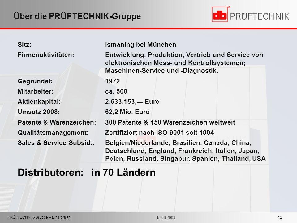 15.06.2009 PRÜFTECHNIK-Gruppe – Ein Portrait 12 Über die PRÜFTECHNIK-Gruppe Sitz: Ismaning bei München Firmenaktivitäten:Entwicklung, Produktion, Vert