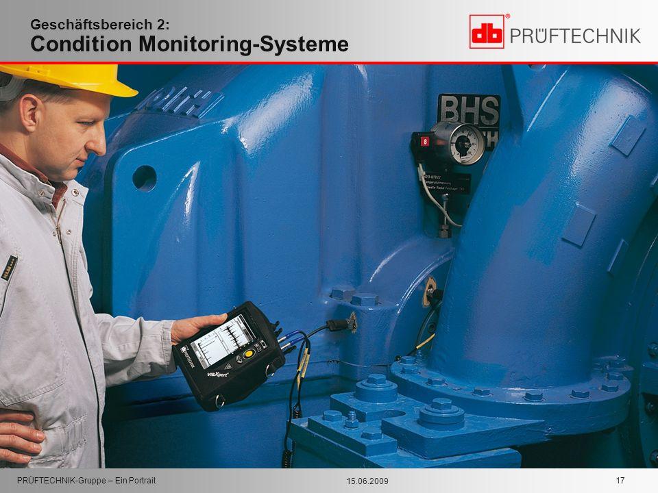 15.06.2009 PRÜFTECHNIK-Gruppe – Ein Portrait 17 Geschäftsbereich 2: Condition Monitoring-Systeme
