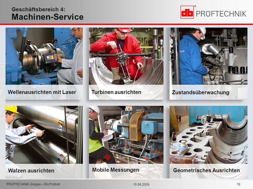 15.06.2009 PRÜFTECHNIK-Gruppe – Ein Portrait 19 Geschäftsbereich 4: Machinen-Service Zustandsüberwachung Turbinen ausrichten Wellenausrichten mit Lase