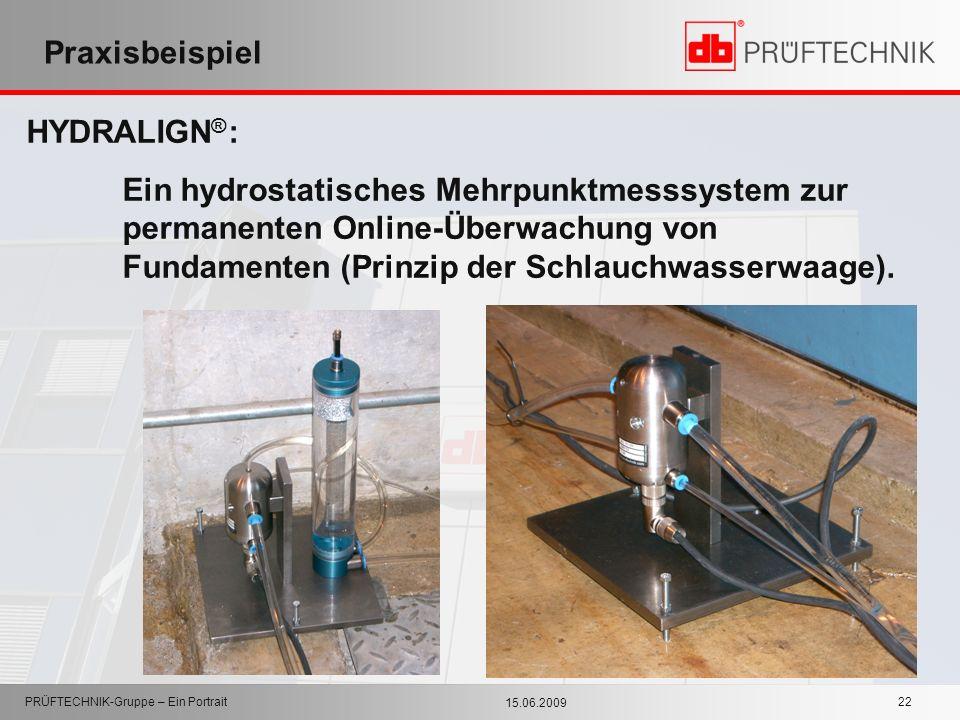 15.06.2009 PRÜFTECHNIK-Gruppe – Ein Portrait 22 Praxisbeispiel HYDRALIGN ® : Ein hydrostatisches Mehrpunktmesssystem zur permanenten Online-Überwachun