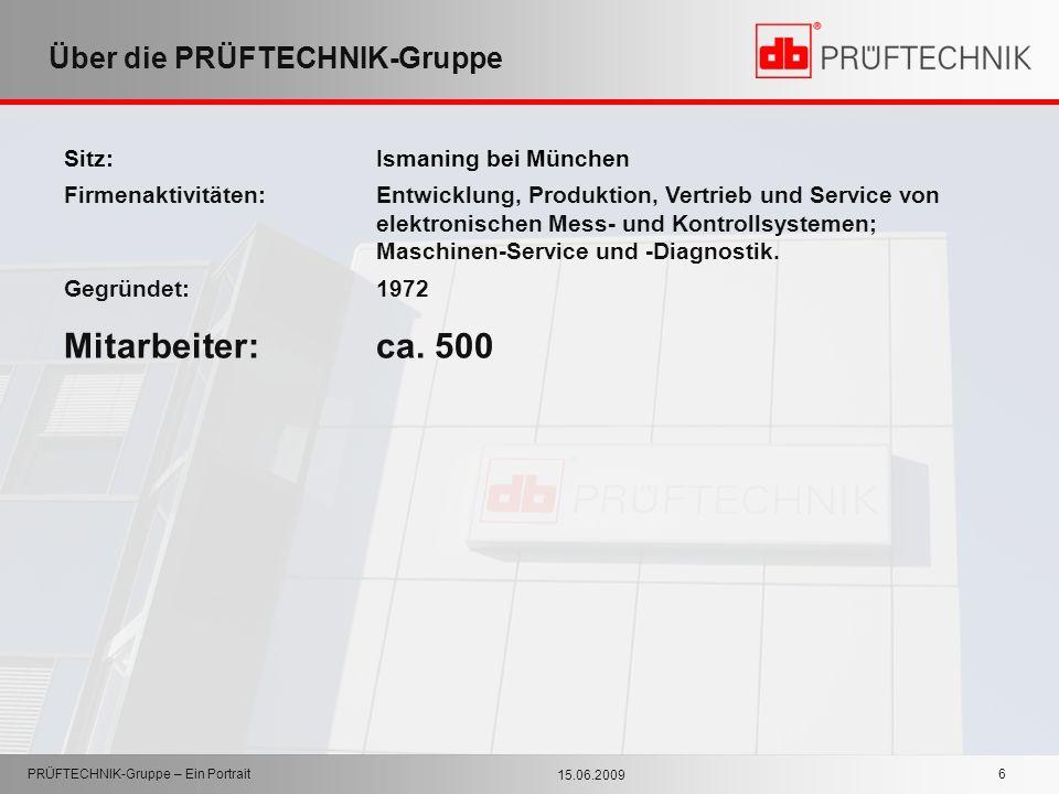 15.06.2009 PRÜFTECHNIK-Gruppe – Ein Portrait 6 Über die PRÜFTECHNIK-Gruppe Sitz: Ismaning bei München Firmenaktivitäten:Entwicklung, Produktion, Vertr