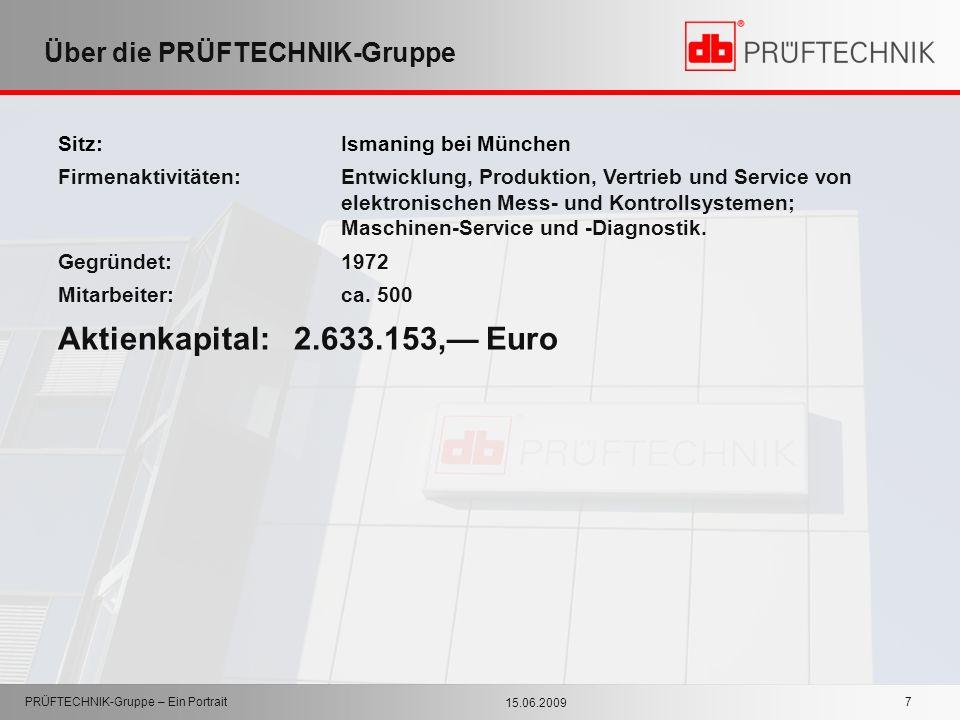 15.06.2009 PRÜFTECHNIK-Gruppe – Ein Portrait 7 Über die PRÜFTECHNIK-Gruppe Sitz: Ismaning bei München Firmenaktivitäten:Entwicklung, Produktion, Vertr