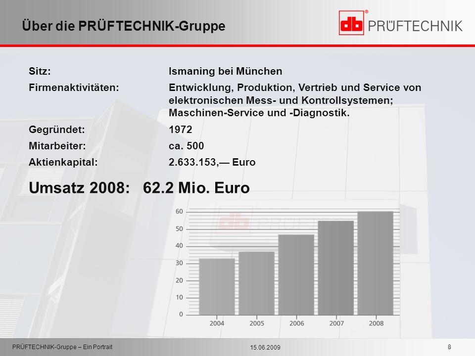 15.06.2009 PRÜFTECHNIK-Gruppe – Ein Portrait 8 Über die PRÜFTECHNIK-Gruppe Sitz: Ismaning bei München Firmenaktivitäten:Entwicklung, Produktion, Vertr