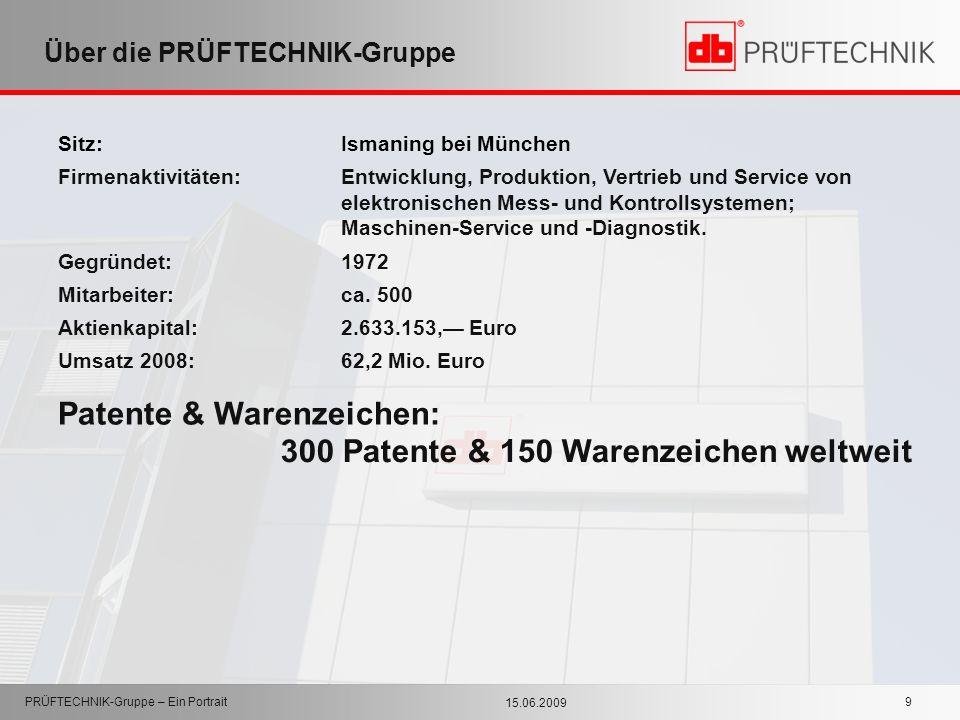15.06.2009 PRÜFTECHNIK-Gruppe – Ein Portrait 9 Über die PRÜFTECHNIK-Gruppe Sitz: Ismaning bei München Firmenaktivitäten:Entwicklung, Produktion, Vertr