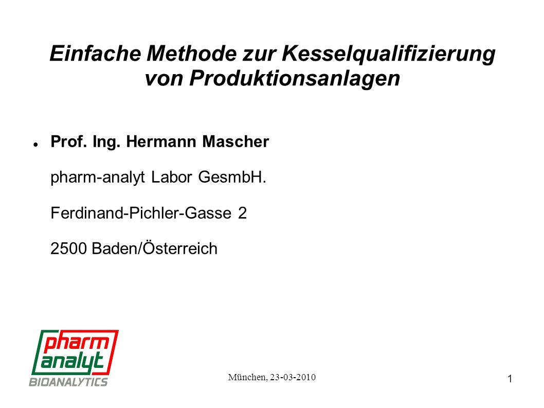 1 München, 23-03-2010 Einfache Methode zur Kesselqualifizierung von Produktionsanlagen Prof.