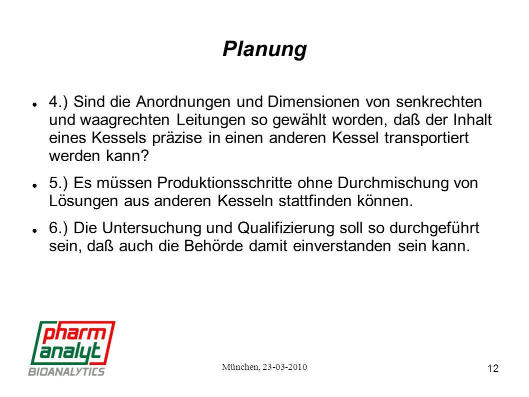 12 München, 23-03-2010 Planung 4.)Sind die Anordnungen und Dimensionen von senkrechten und waagrechten Leitungen so gewählt worden, daß der Inhalt eines Kessels präzise in einen anderen Kessel transportiert werden kann.