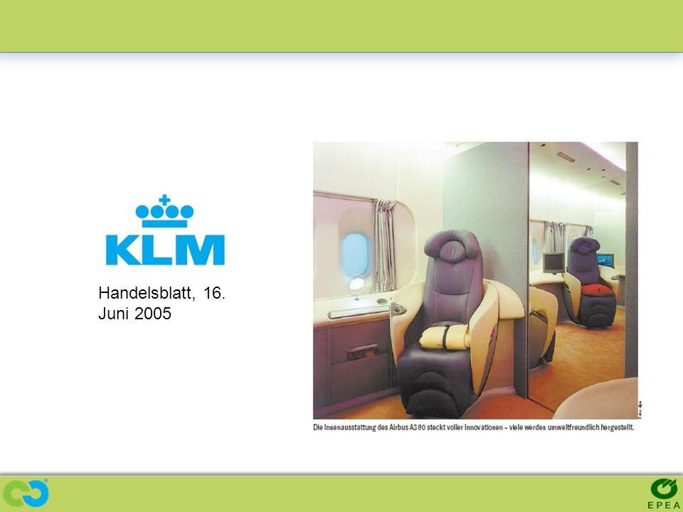 KLM - Compostable Airplane Seat Prototype Handelsblatt, 16. Juni 2005