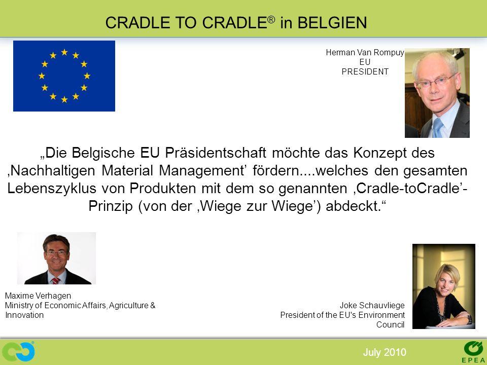 Die Belgische EU Präsidentschaft möchte das Konzept des Nachhaltigen Material Management fördern....welches den gesamten Lebenszyklus von Produkten mi
