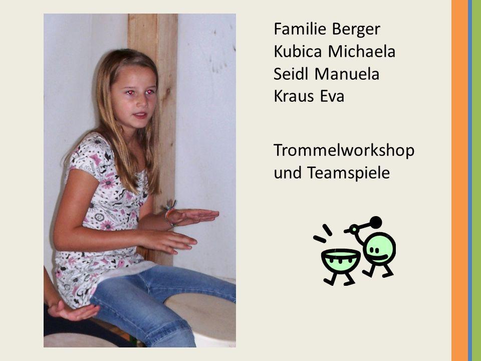 Familie Berger Kubica Michaela Seidl Manuela Kraus Eva Trommelworkshop und Teamspiele