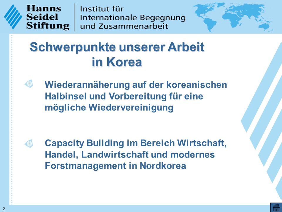 2 Schwerpunkte unserer Arbeit in Korea Wiederannäherung auf der koreanischen Halbinsel und Vorbereitung für eine mögliche Wiedervereinigung Capacity Building im Bereich Wirtschaft, Handel, Landwirtschaft und modernes Forstmanagement in Nordkorea